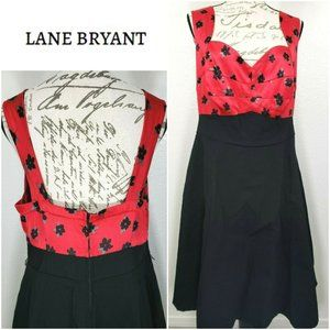Red Black Floral Fitted-Chest 50's Jumper Dress